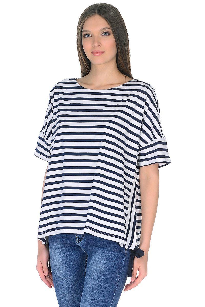 Футболка женская Baon, цвет: белый. B238008_White Striped. Размер M (46)B238008_White Striped