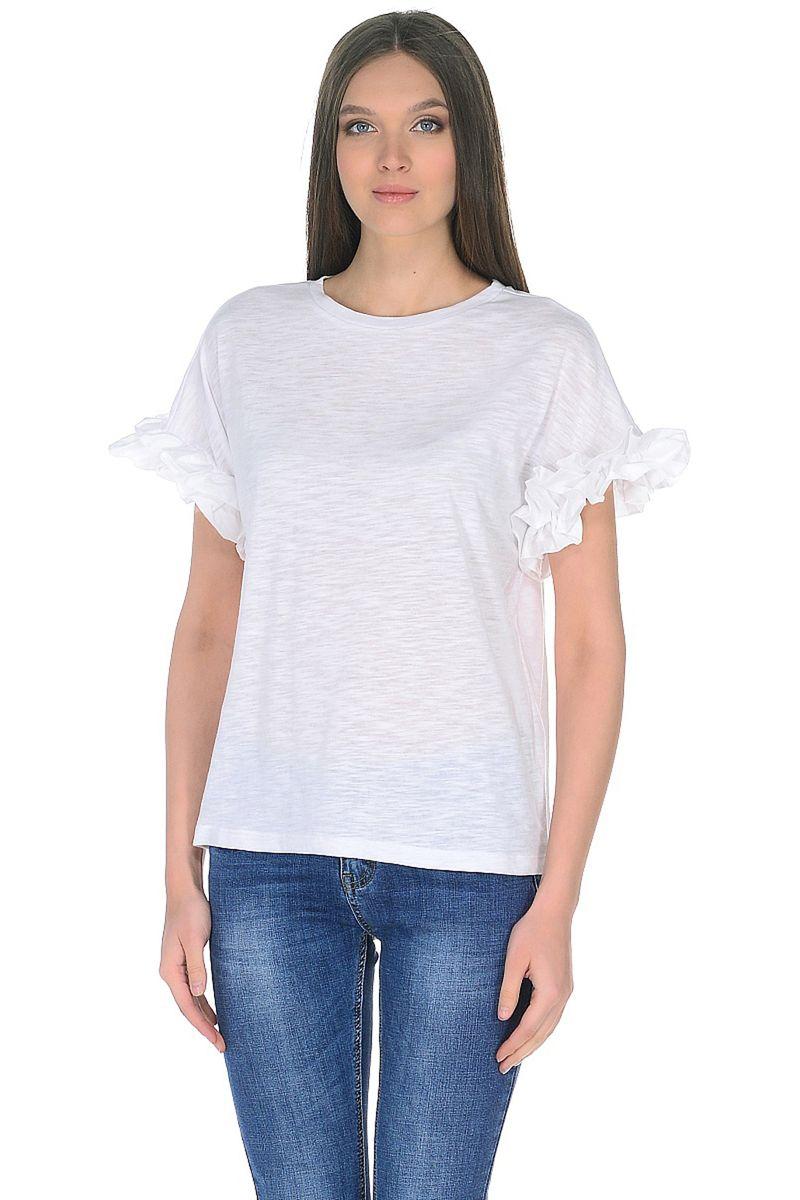 Футболка женская Baon, цвет: белый. B238029_White. Размер L (48)B238029_White