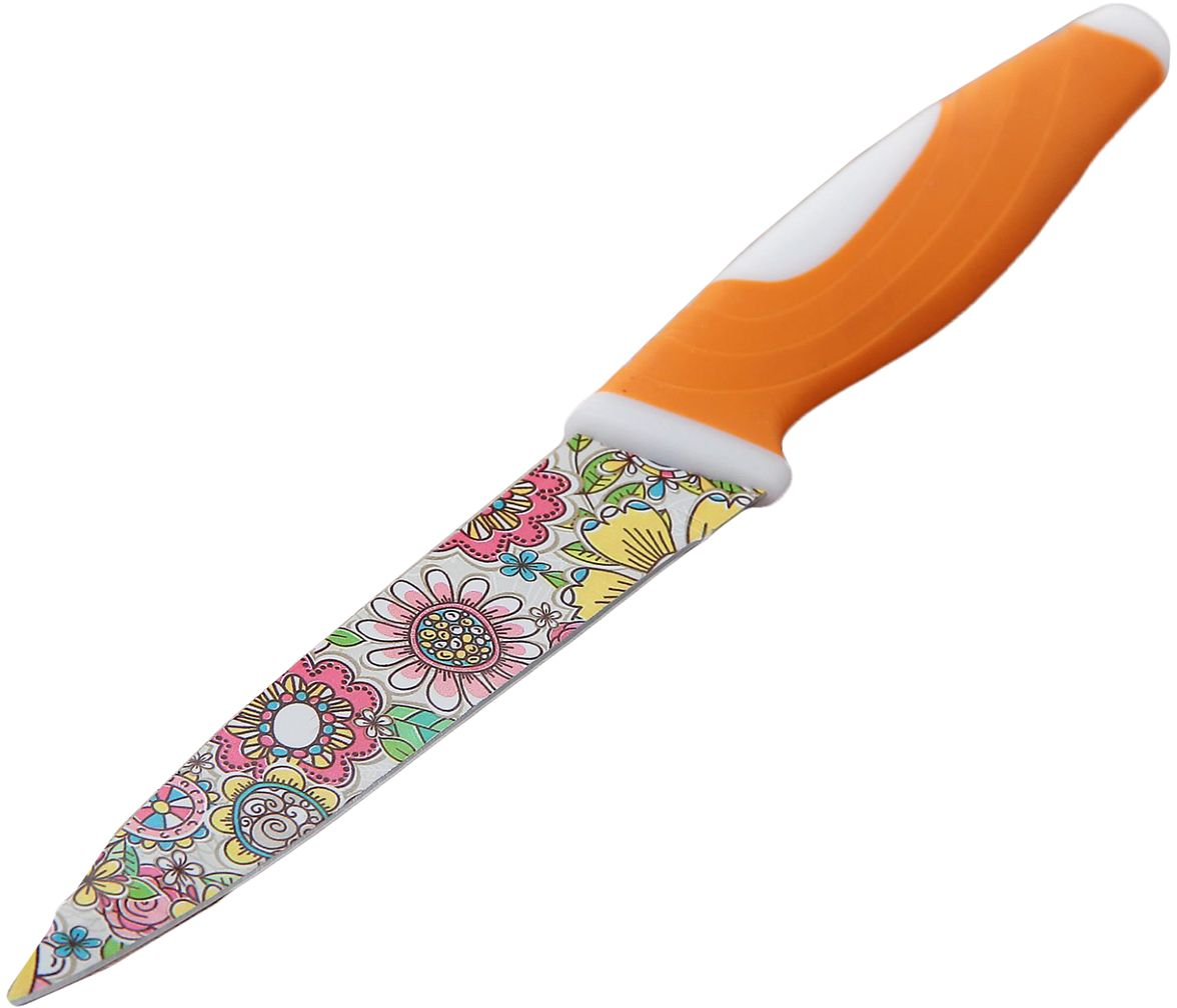 Нож Доляна Мандала, с антиналипающим покрытием, цвет: оранжевый, длина лезвия 12,5 см. 23541152354115От качества посуды зависит не только вкус еды, но и здоровье человека. Нож с антиналипающим покрытием - товар, соответствующий российским стандартам качества. Любой хозяйке будет приятно держать его в руках. С нашей посудой и кухонной утварью приготовление еды и сервировка стола превратятся в настоящий праздник.