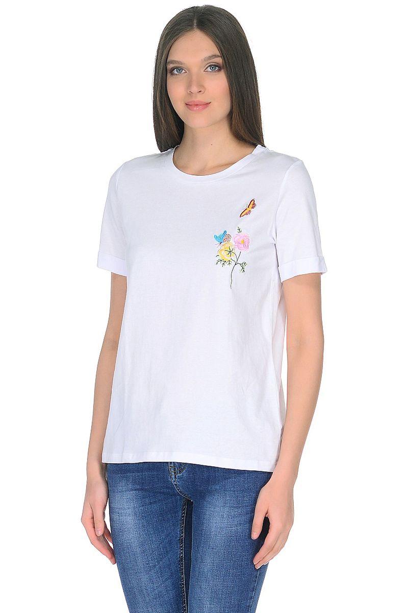 Футболка женская Baon, цвет: белый. B238035_White. Размер XL (50) кардиган женский baon цвет черный b147505 black размер xl 50