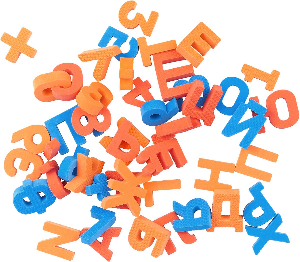 Pic'nMix Набор игрушек для ванной Буквы-цифры цвет синий красный оранжевый 48 шт