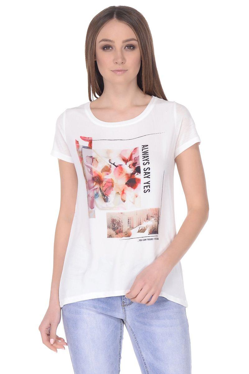 Купить Футболка женская Baon, цвет: белый. B238103_Milk. Размер M (46)
