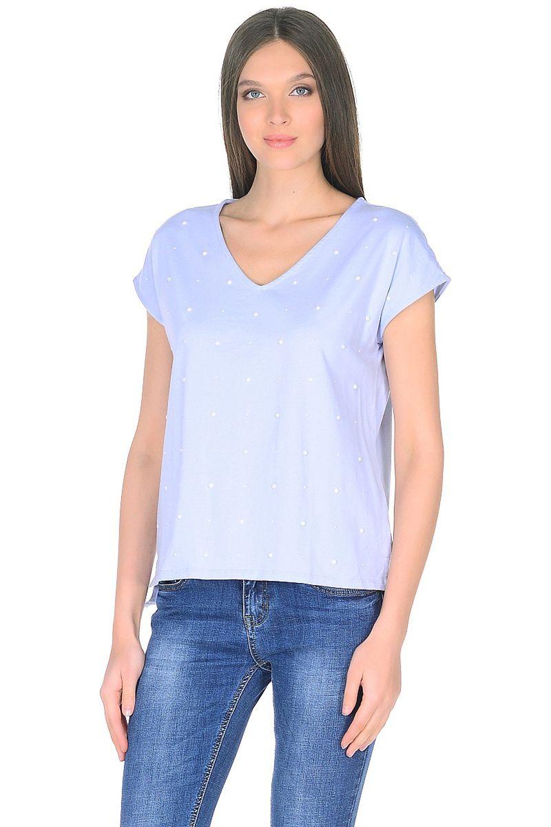 Футболка женская Baon, цвет: голубой. B238041_Xenon. Размер XL (50) кардиган женский baon цвет черный b147505 black размер xl 50