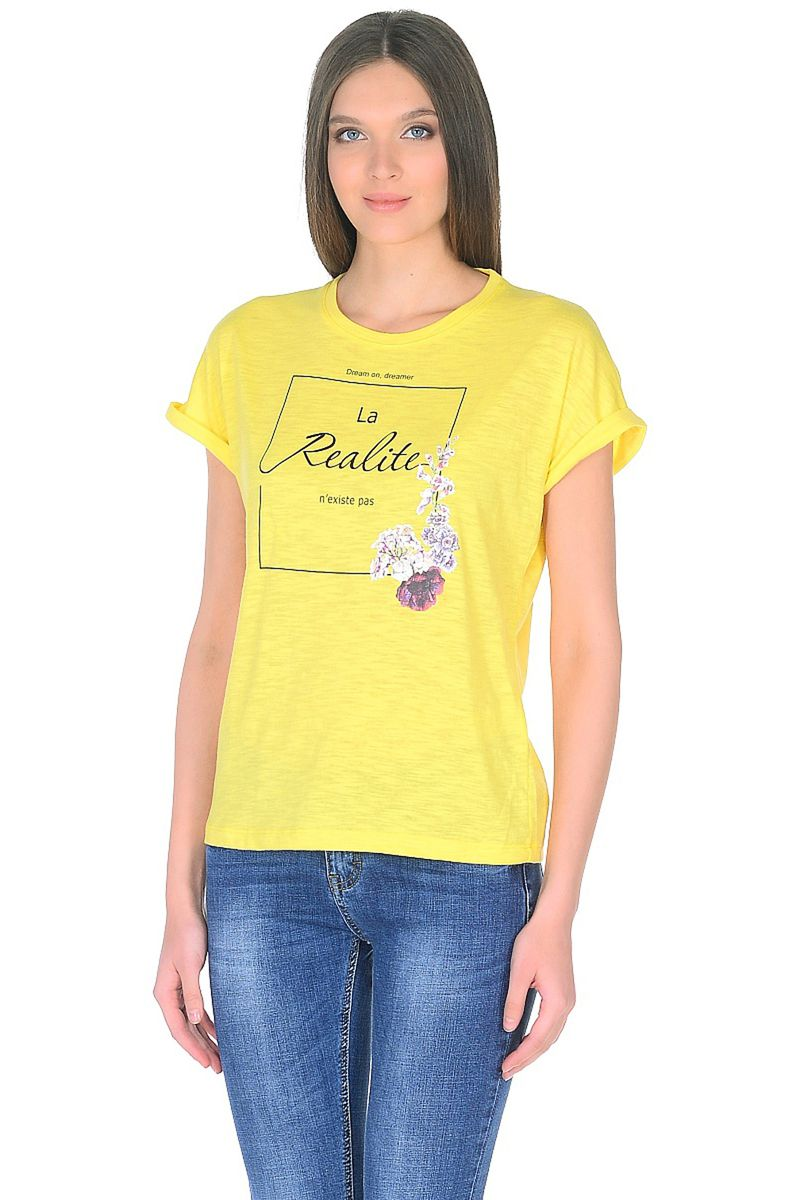 Купить Футболка женская Baon, цвет: желтый. B238024_Lemonade. Размер M (46)