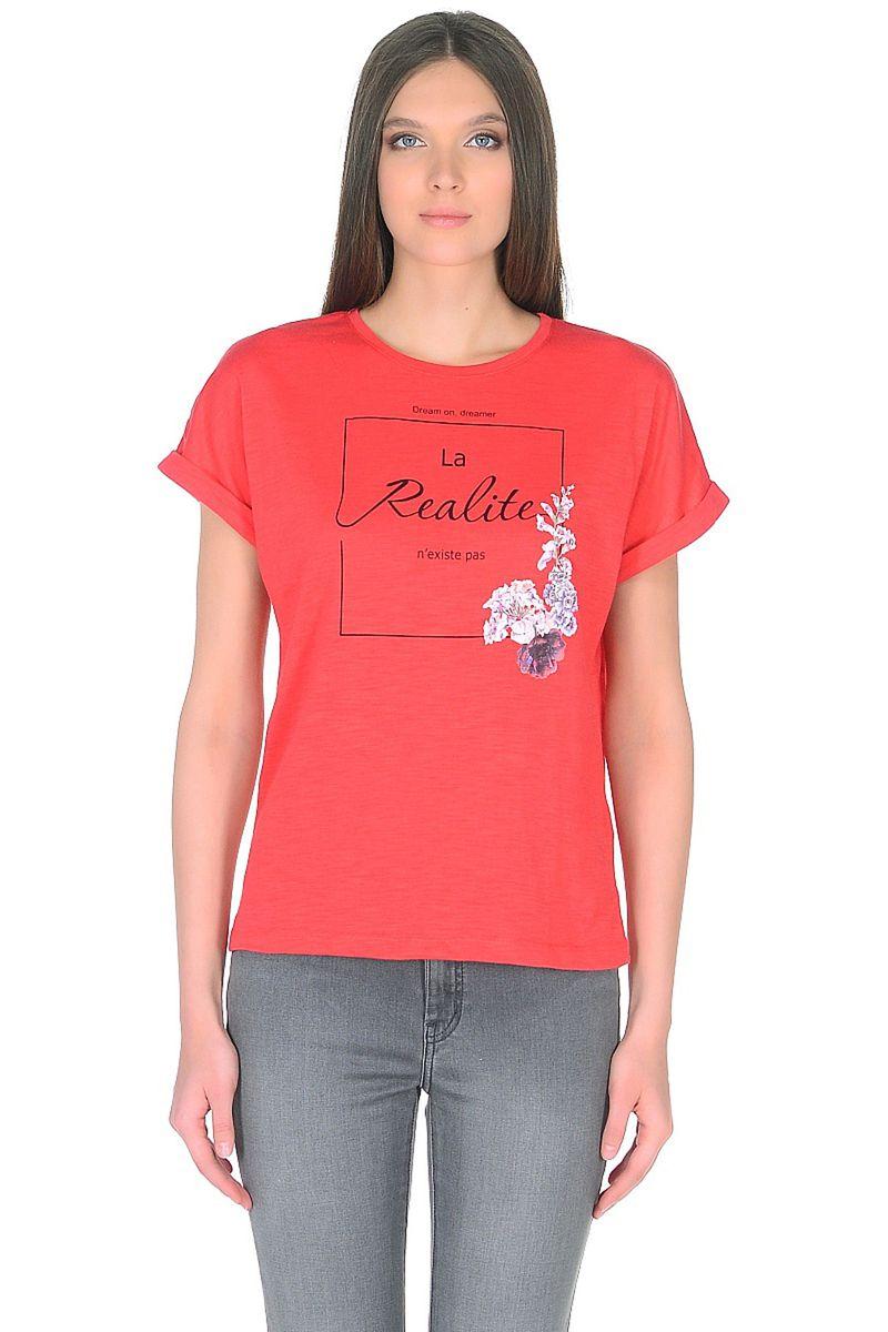 Футболка женская Baon, цвет: красный. B238024_Hibiscus. Размер XXL (52)B238024_Hibiscus