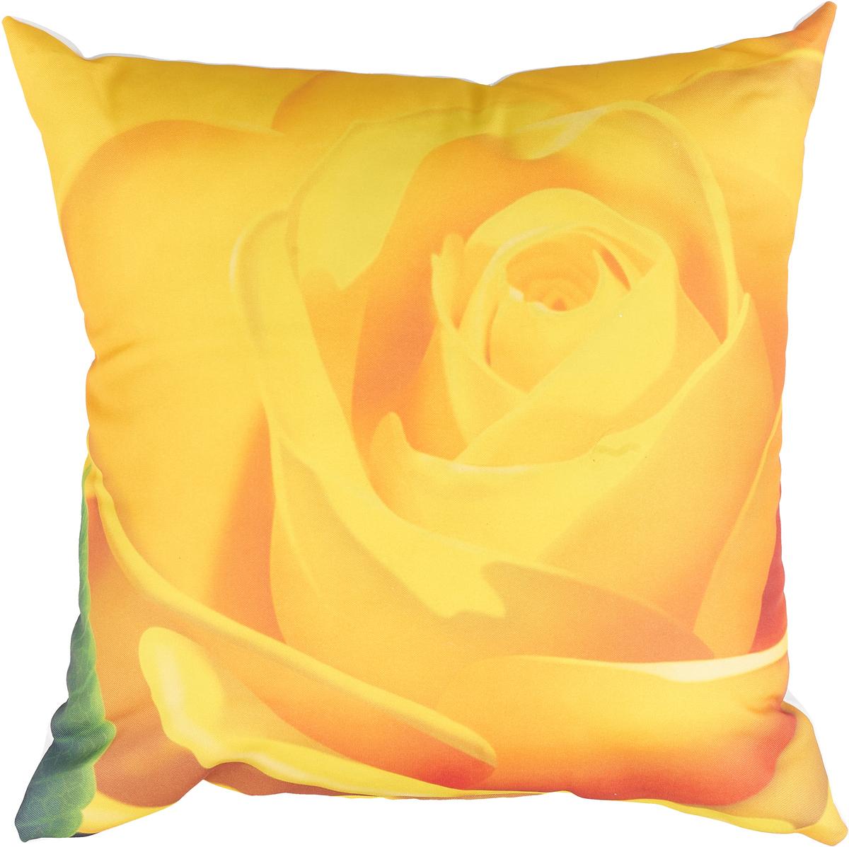 Подушка декоративная МарТекс Линет, цвет: желтый, 45 х 45 см. 16-1242-116-1242-1Декоративная подушка, рисунок выполнен методом фотопечати. Наполнение полое силиконизированное волокно Hollow Fiber.