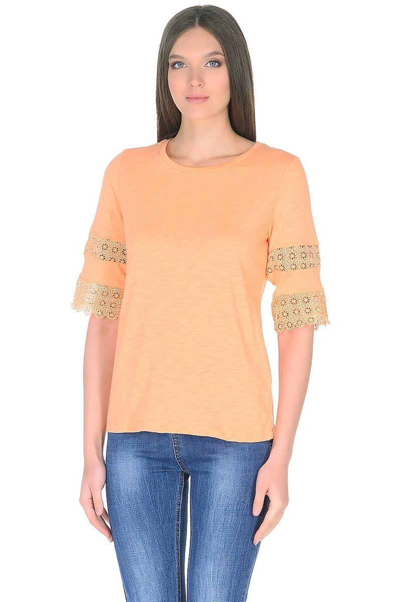 Футболка женская Baon, цвет: оранжевый. B238053_Light Sylvite. Размер XL (50)