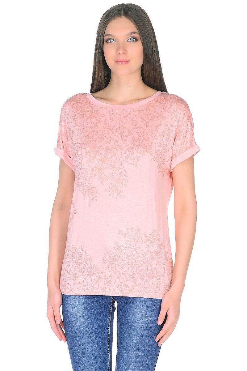 Футболка женская Baon, цвет: розовый. B238044_Snakeweed. Размер XL (50)B238044_Snakeweed
