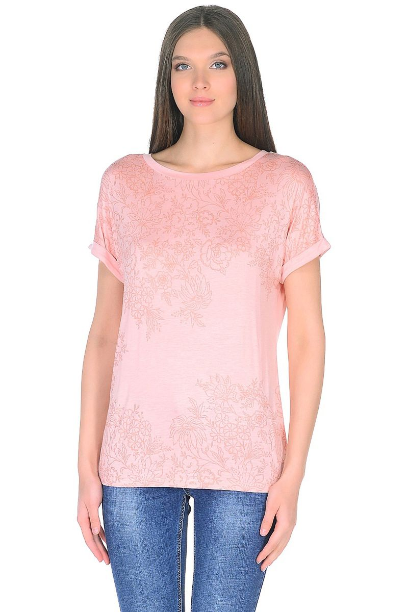 Купить Футболка женская Baon, цвет: розовый. B238044_Snakeweed. Размер M (46)
