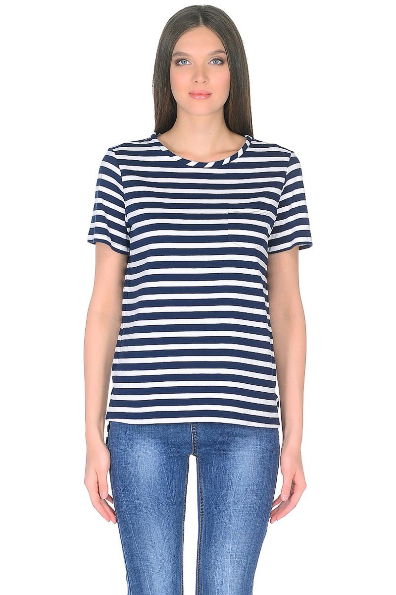 Футболка женская Baon, цвет: темно-синий, белый. B238009_Dark Navy Striped. Размер XXL (52) beibehang papel de parede high quality modern simple non woven wallpaper 3d three dimensional flocking embossed wall paper