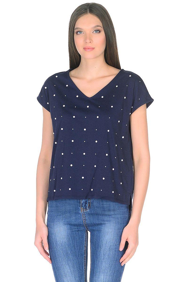 Футболка женская Baon, цвет: синий. B238041_Dark Navy. Размер XL (50) кардиган женский baon цвет черный b147505 black размер xl 50