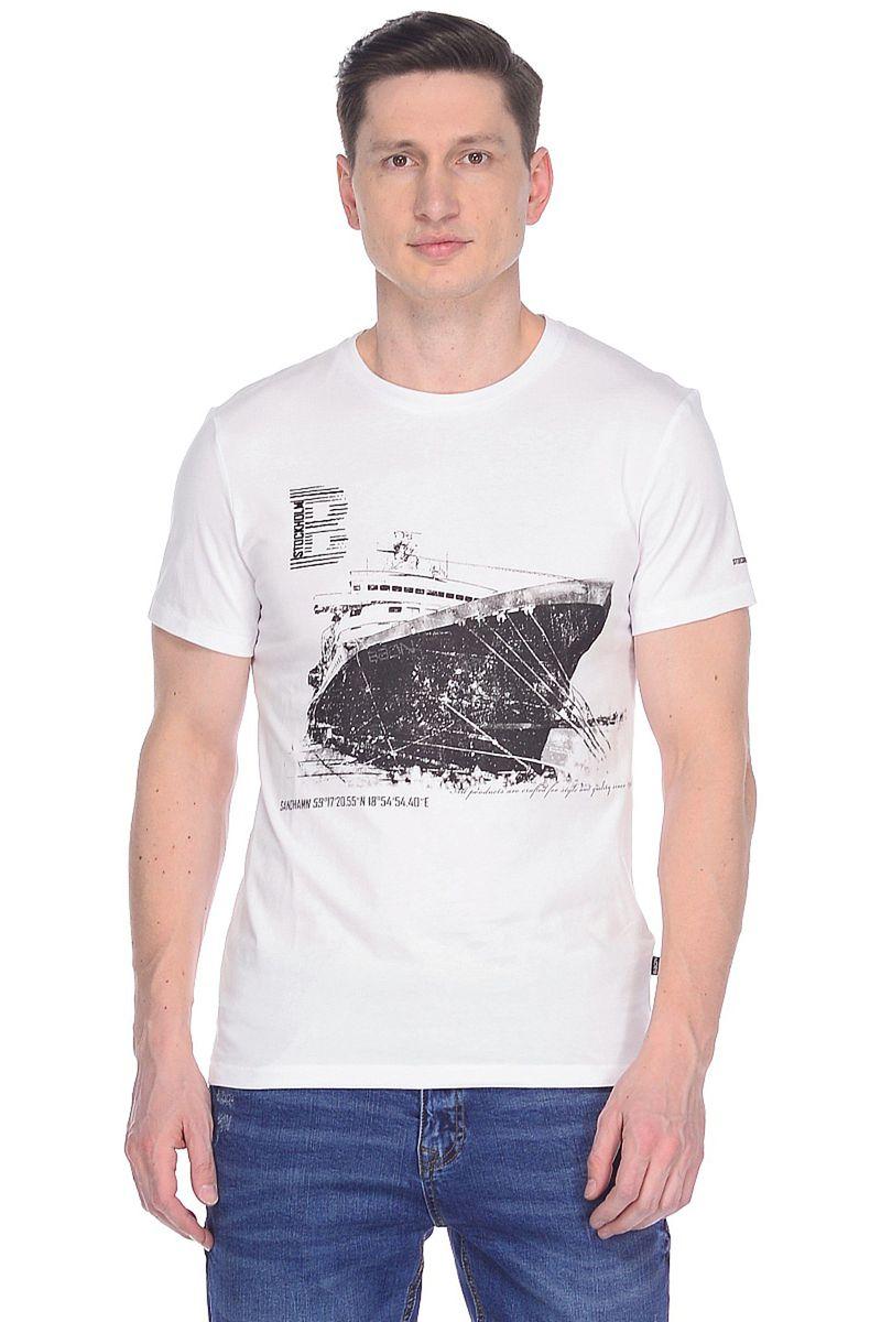 Футболка мужская Baon, цвет: белый. B738007_White. Размер XXL (54) футболка мужская f5 цвет белый 14484 02285 размер xxl 54