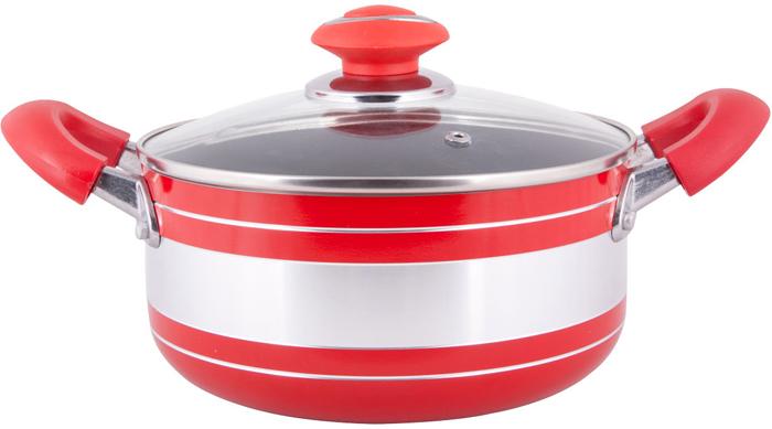 """Кастрюля """"Miolla"""" - это яркое решение для вашей кухни.  Легкая кастрюля, выполненная из штампованного алюминия с антипригарным  покрытием, обеспечивает  превосходную теплопроводность, максимально быстрый прогрев и  аккумулирование тепла.  Стеклянная крышка плотно прилегает к краям посуды, сохраняя  аромат и вкус блюд. При этом можно наблюдать за готовностью пищи без  потери  тепла.  Кастрюля подходит для всех типов плит, кроме индукционных. Можно мыть в  посудомоечной  машине."""