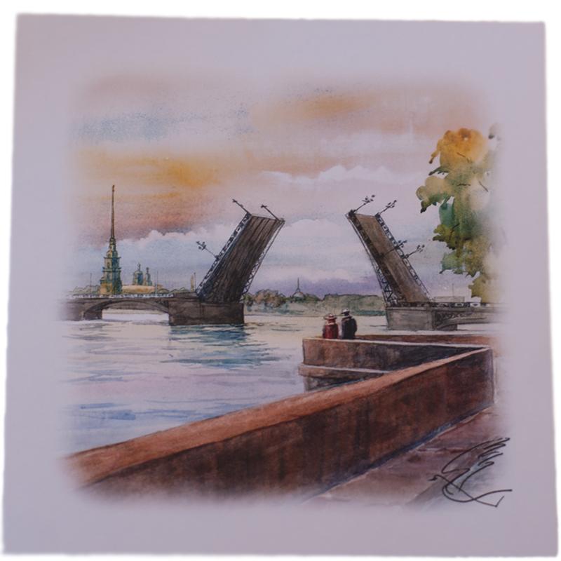 Предлагаем вашему вниманию открытку с видом Санкт-Петербурга, она станет необычным и ярким дополнением к подарку дорогому и близкому вам человеку или просто добавит красок в серые будни.
