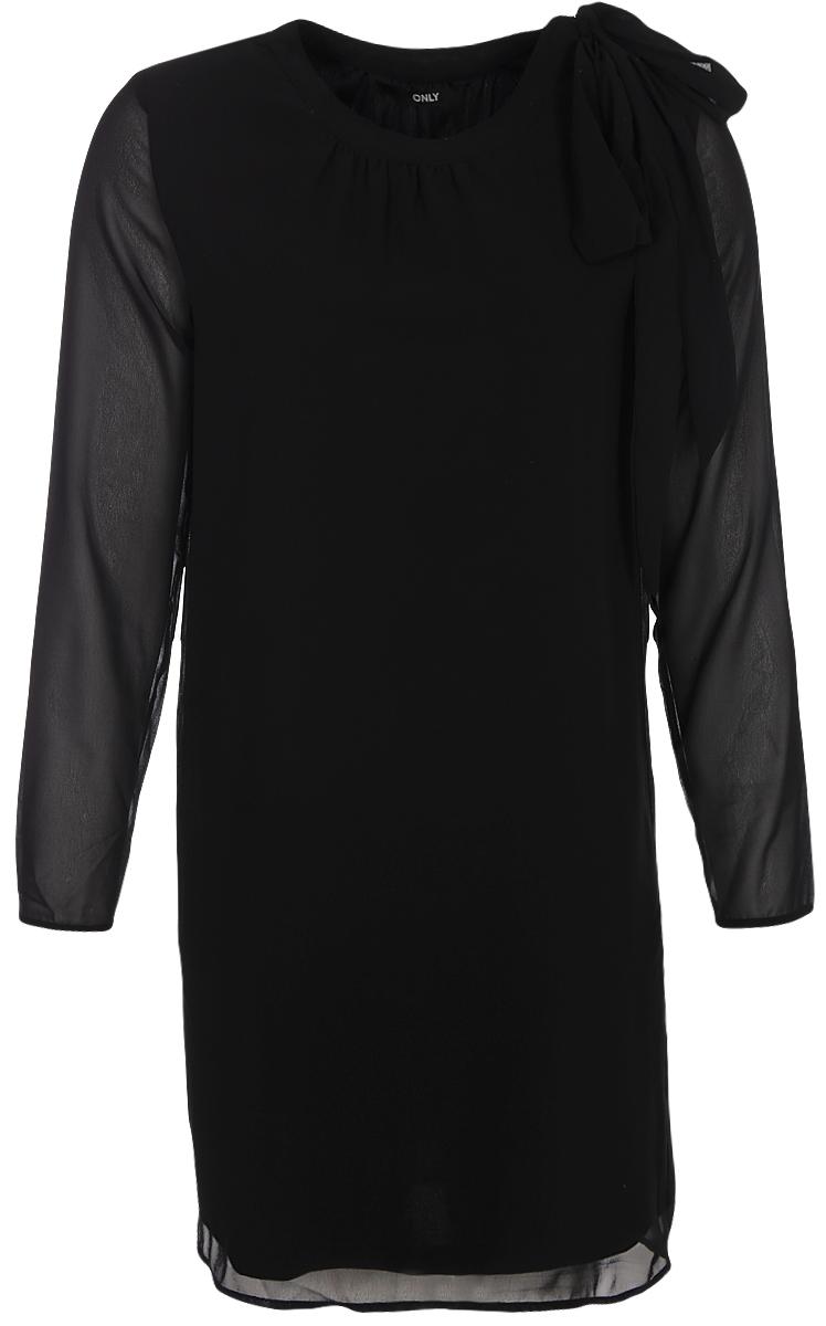 Платье Only, цвет: черный. 15153752. Размер 38 (44)15153752Платье от Only выполнено из 100% вискозы. Модель свободного кроя с длинными рукавами и круглым вырезом горловины. Горловина сбоку дополнена текстильными завязками.
