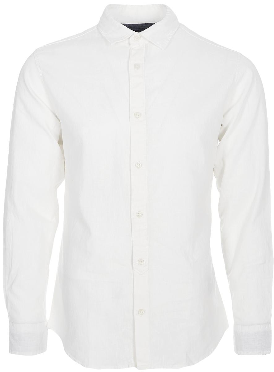 Рубашка мужская Jack & Jones, цвет: белый. 12129187. Размер S (46)12129187Рубашка от Jack & Jones выполнена из льняного материала с добавлением хлопка. Модель с длинными рукавами и отложным воротником застегивается на пуговицы. Манжеты рукавов на пуговицах.