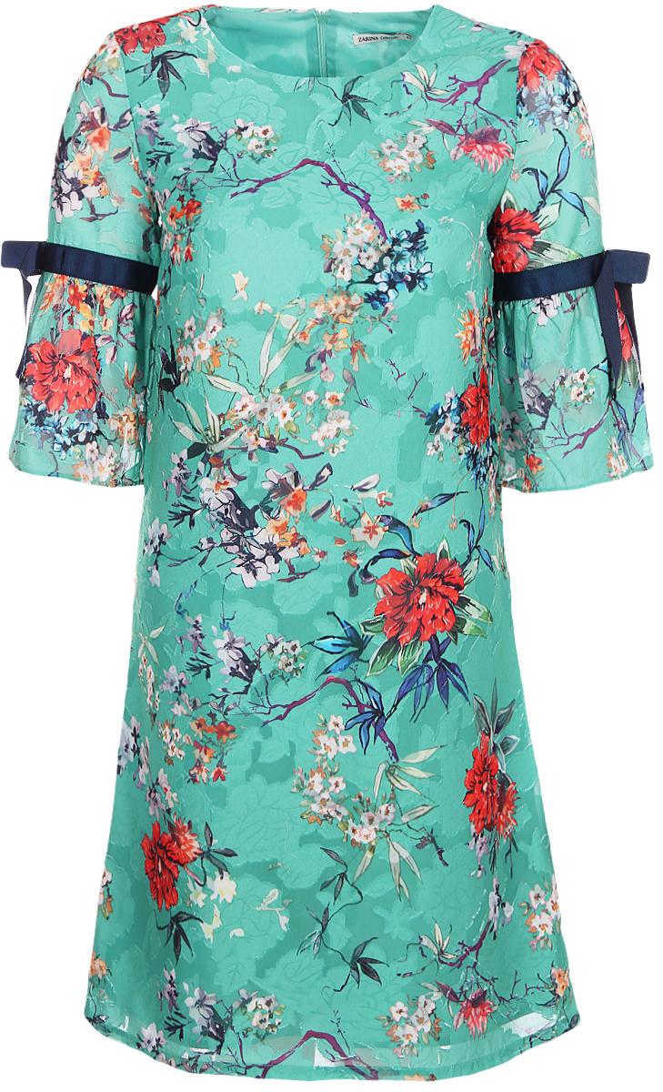 Платье Zarina, цвет: зеленый. 8123008508015. Размер 448123008508015Платье от Zarina выполнено из полиэстера. Модель с расклешенными рукавами и круглым вырезом горловины на спинке застегивается на потайную молнию.