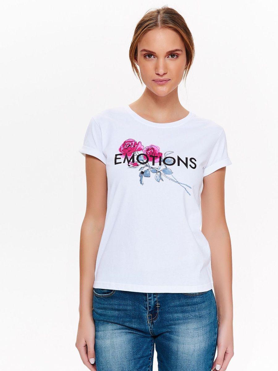 Футболка женская Top Secret, цвет: белый. SPO3417BI. Размер 38 (46) футболка с полной запечаткой женская printio весенняя роза