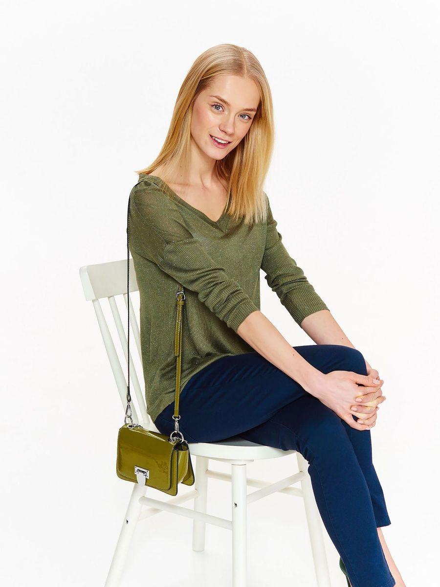 Свитер женский Top Secret, цвет: зеленый. SSW2311ZI. Размер 42 (50) бархатный мир хороший цвет с длинными рукавами v образным вырезом свитер тонкий свитер r1113 белый m