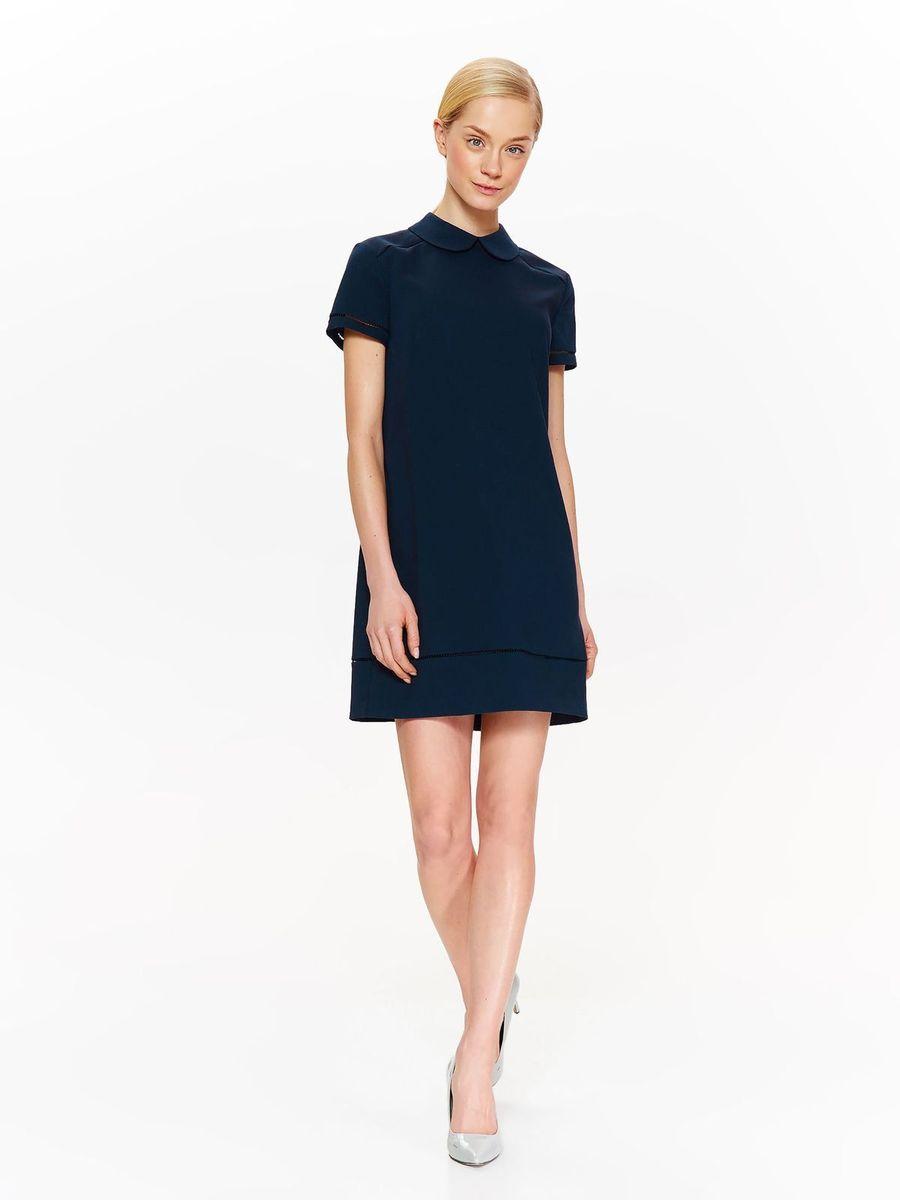 Платье Top Secret, цвет: темно-синий. SSU2053GR. Размер 40 (48)SSU2053GRЖенское платье Top Secret изготовлено из полиэстера с добавлением вискозы и эластана. Модель выполнена с короткими рукавами и отложным воротником. Платье застегивается сзади на молнию.