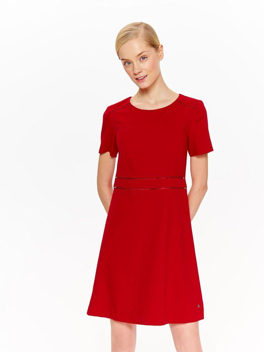 Платье Top Secret, цвет: красный. SSU2054CE. Размер 46 (54)SSU2054CEЖенское платье Top Secret изготовлено из высококачественных материалов. Модель с короткими рукавами и круглой горловиной застегивается сзади на молнию.