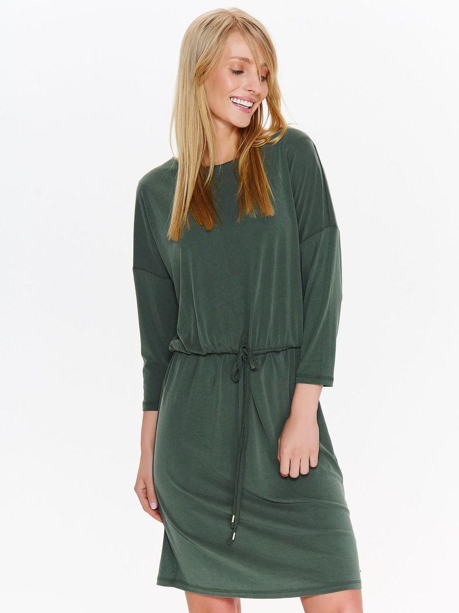 Платье Top Secret, цвет: зеленый. SSU2084ZI. Размер 40 (48)SSU2084ZIЖенское платье Top Secret изготовлено из полиэстера с добавлением модала. Модель выполнена с длинными рукавами и круглой горловиной. Платье на талии дополнено эластичной резинкой с утягивающим шнурком.