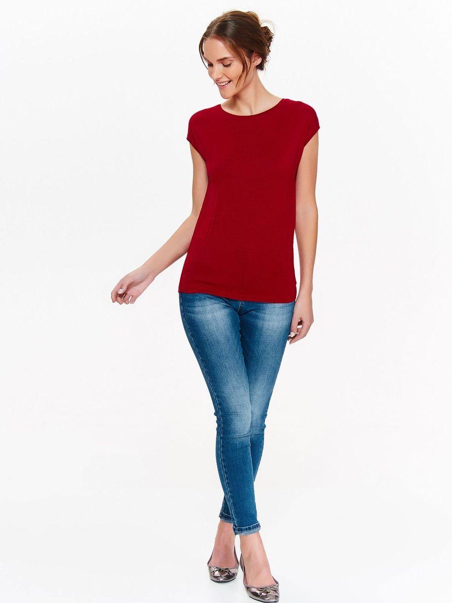 Футболка женская Top Secret, цвет: красный. SPO3408CE. Размер 42 (50)SPO3408CEСтильная женская футболка Top Secret, выполненная из вискозы, отлично дополнит ваш гардероб. Модель с круглым вырезом горловины и короткими рукавами.