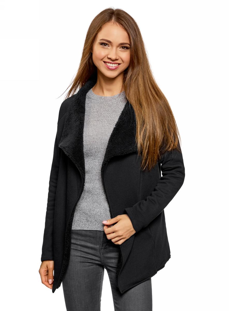 Кардиган утепленный женский oodji Ultra, цвет: черный. 19207001/18586/2900N. Размер XL (50) женский гардероб