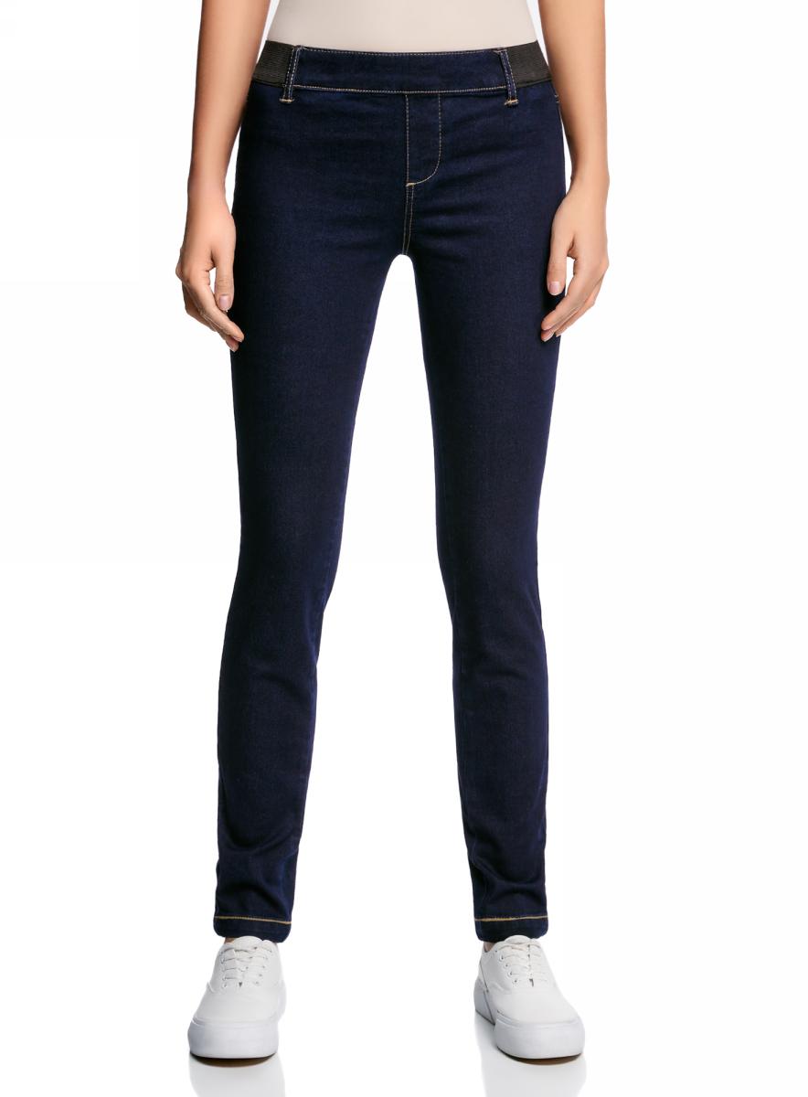 Леггинсы женские oodji Ultra, цвет: темно-синий джинс. 12104045-2B/45877/7900W. Размер 25-32 (40-32) джинсы женские oodji ultra цвет темно синий джинс 12103145b 46341 7900w размер 26 32 42 32