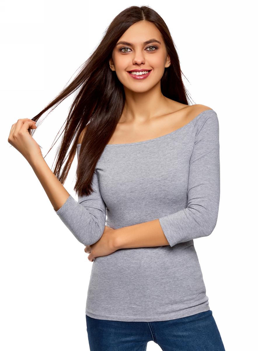 Купить Лонгслив женский oodji Ultra, цвет: светло-серый меланж. 14207007B/46867/2000M. Размер XXS (40)