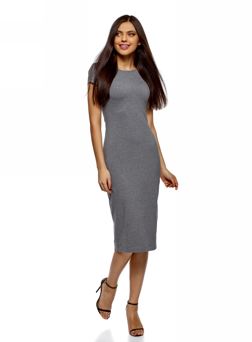 Платье oodji Collection, цвет: серый, 2 шт. 24001104T2/47420/19WHN. Размер S (44)