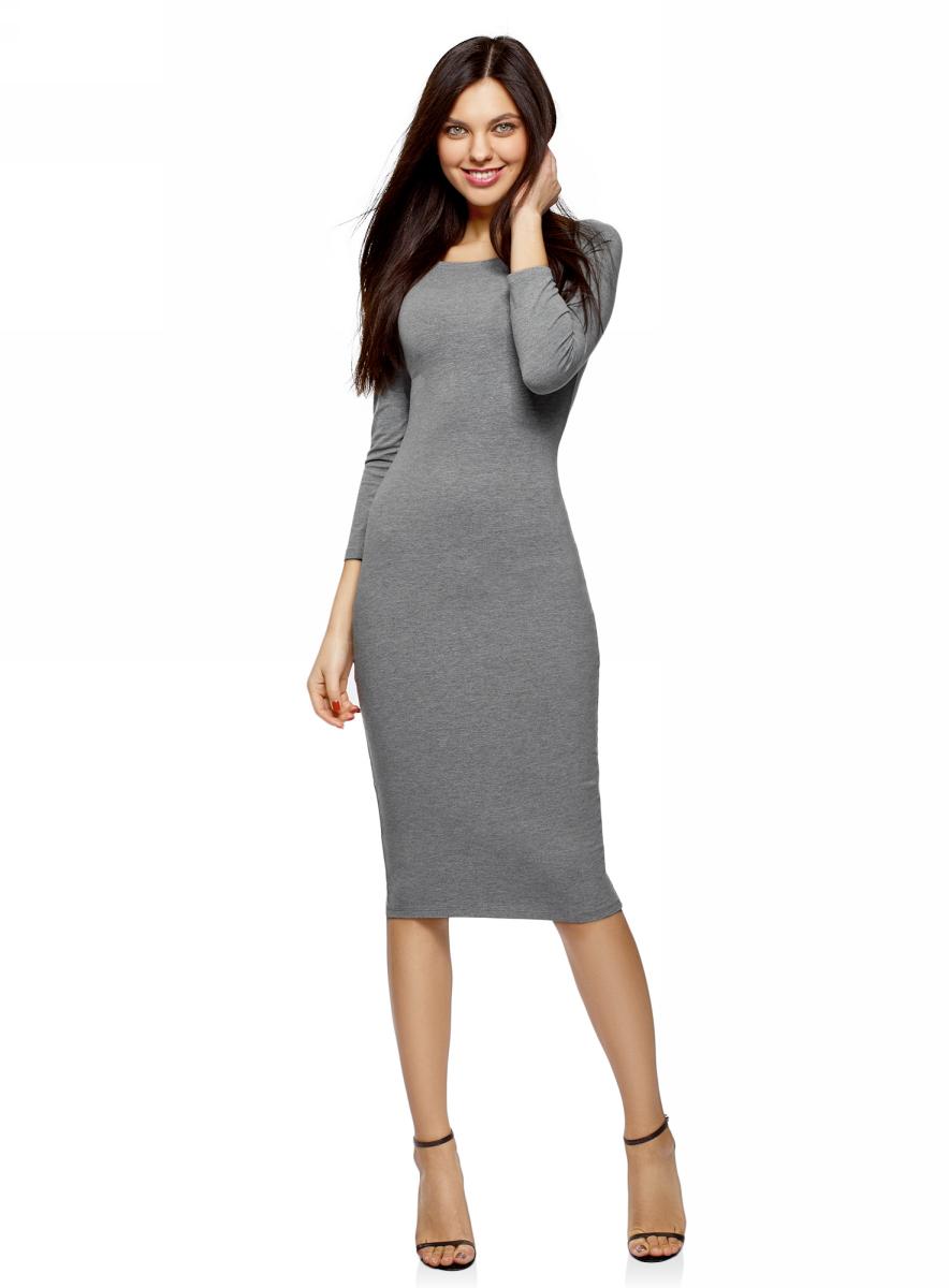 Платье oodji Ultra, цвет: серый меланж, 2 шт. 14017001T2/47420/2300M. Размер L (48)