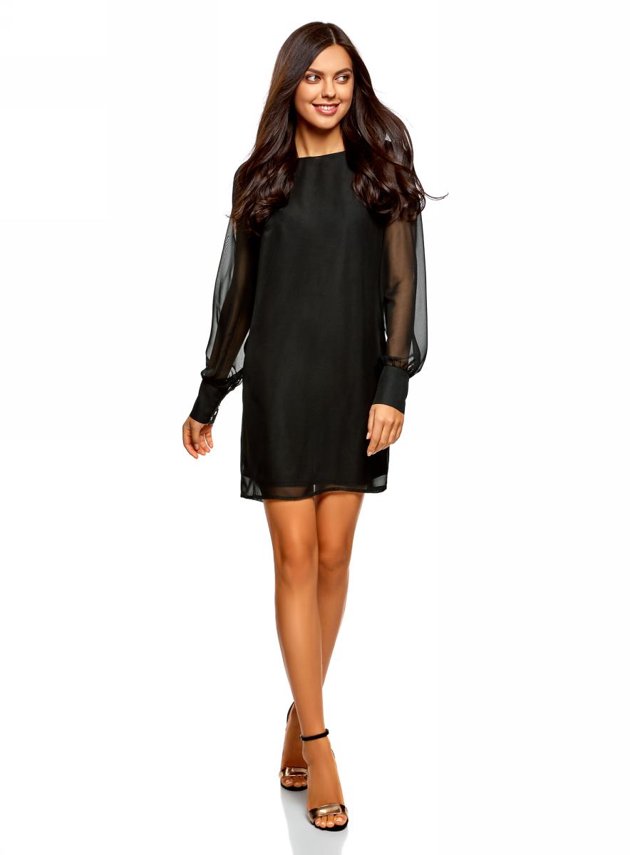 Купить Платье oodji Ultra, цвет: черный. 11900150-13/13632/4901N. Размер 34-170 (40-170)