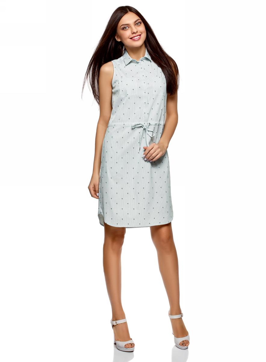 Платье oodji Ultra, цвет: белый, зеленый. 11901147-4B/45202/1062O. Размер 42 (48-170)11901147-4B/45202/1062OПлатье oodji Ultra выполнено из хлопка. Модель на кулиске застегивается сверху на пуговицы.