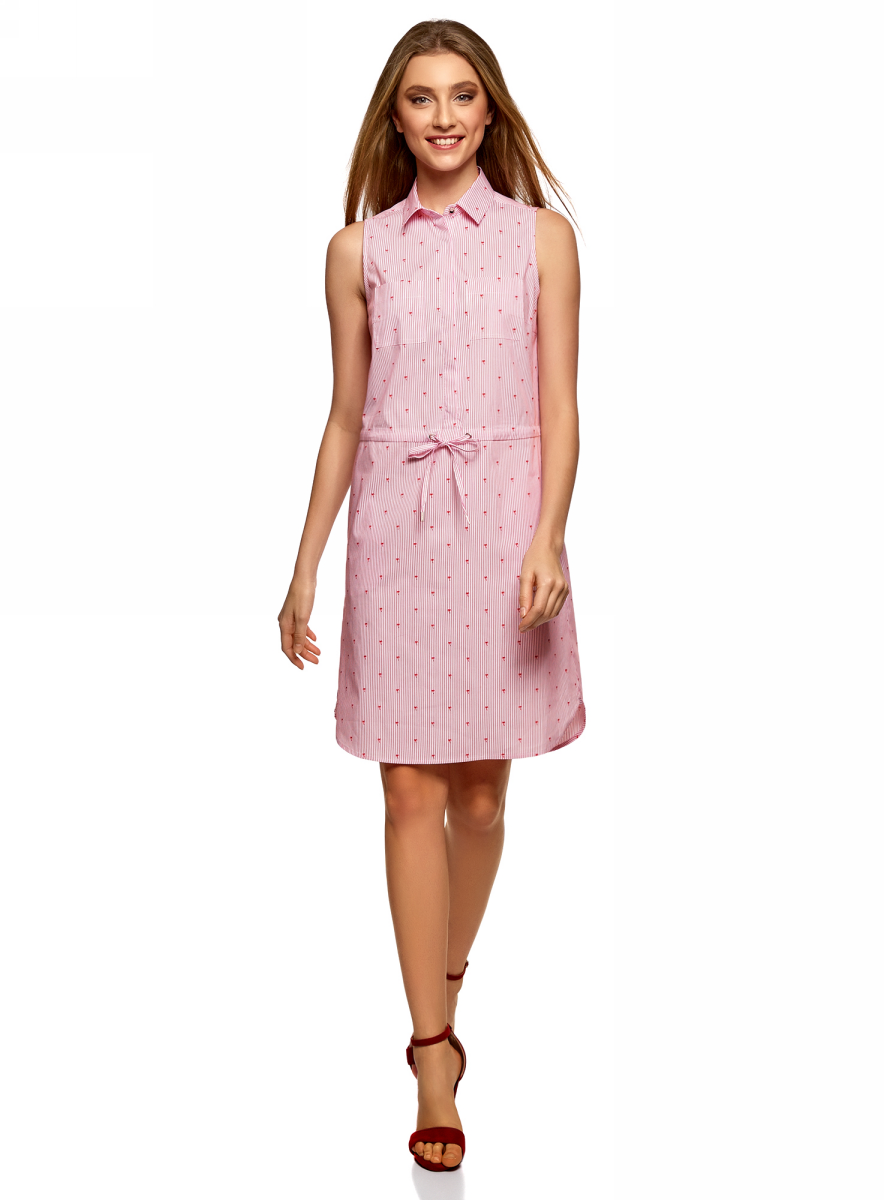 Платье oodji Ultra, цвет: розовый, красный. 11901147-4B/45202/1045O. Размер 38 (44-170)11901147-4B/45202/1045OПлатье oodji Ultra выполнено из хлопка. Модель на кулиске застегивается сверху на пуговицы.