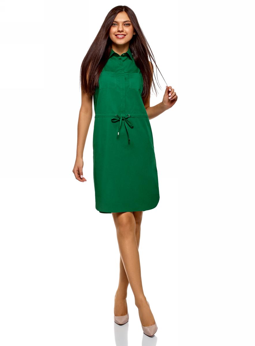 Купить Платье oodji Ultra, цвет: темно-зеленый. 11901147-5B/42468/6E00N. Размер 38 (44-170)