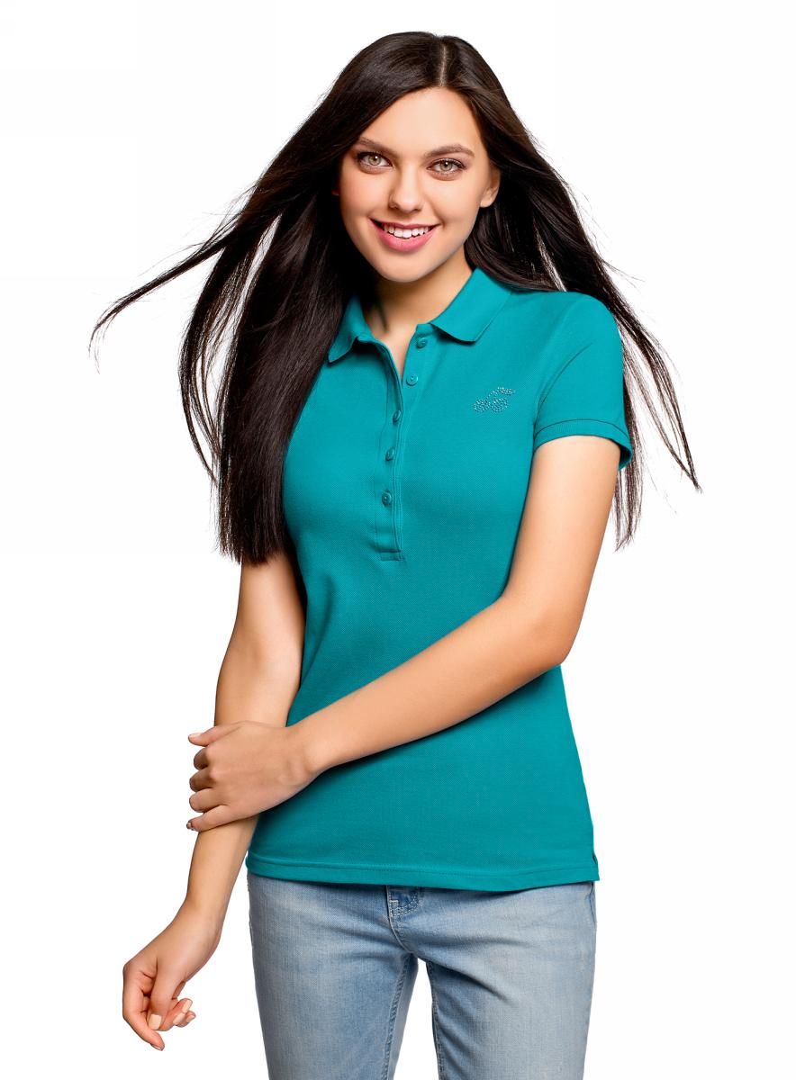Поло женское oodji Ultra, цвет: темно-бирюзовый. 19301001-6/46161/7300P. Размер XXS (40) поло женское oodji ultra цвет темно синий 2 шт 19301001t2 46161 7900n размер xs 42