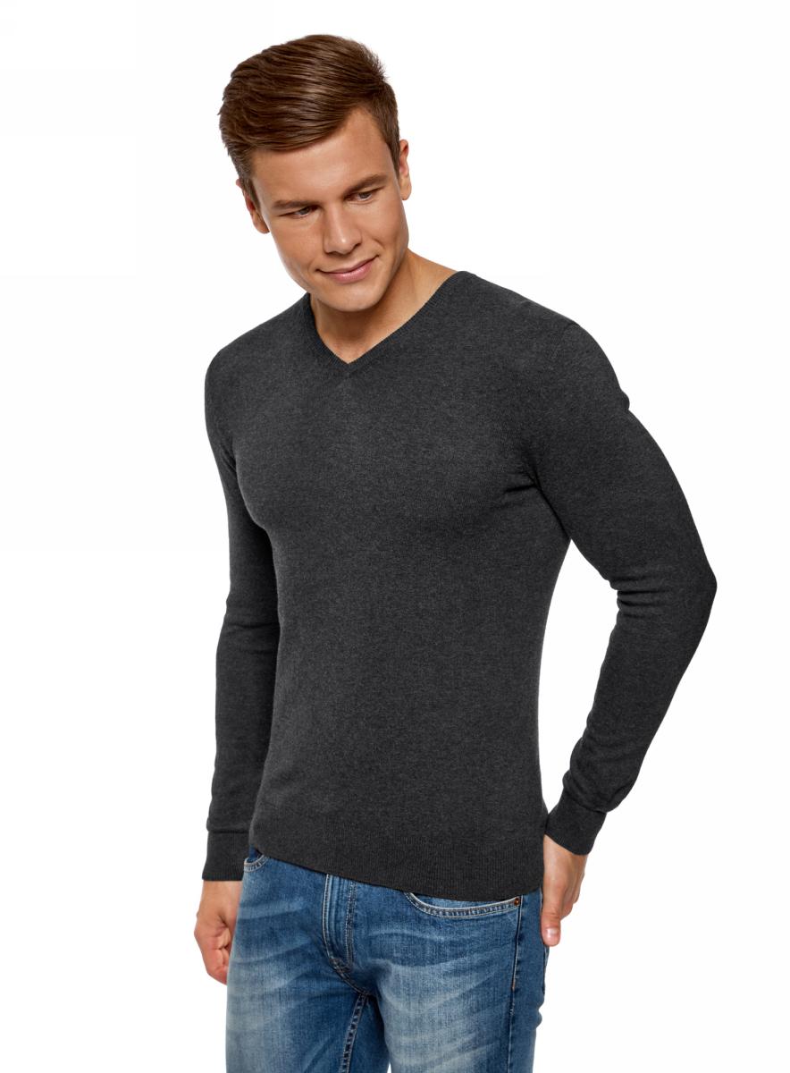 Купить Пуловер мужской oodji Basic, цвет: темно-серый меланж. 4B212004M-1/34390N/2500M. Размер XL (56)