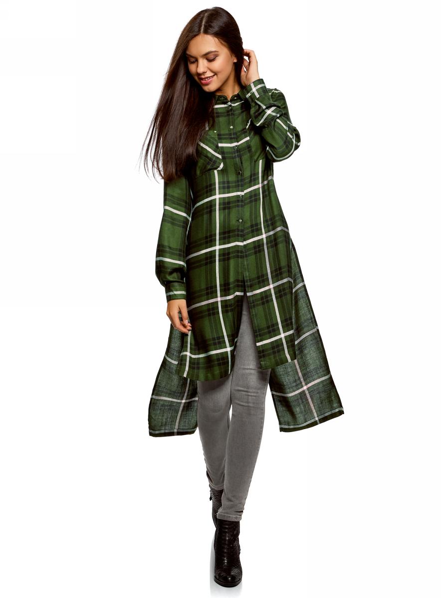 Рубашка женская oodji Ultra, цвет: зеленый, черный. 11411180/47401/6629C. Размер 42-170 (48-170) рубашка женская kepler shirt w цвет зеленый 1401723 7734 размер m 46 48