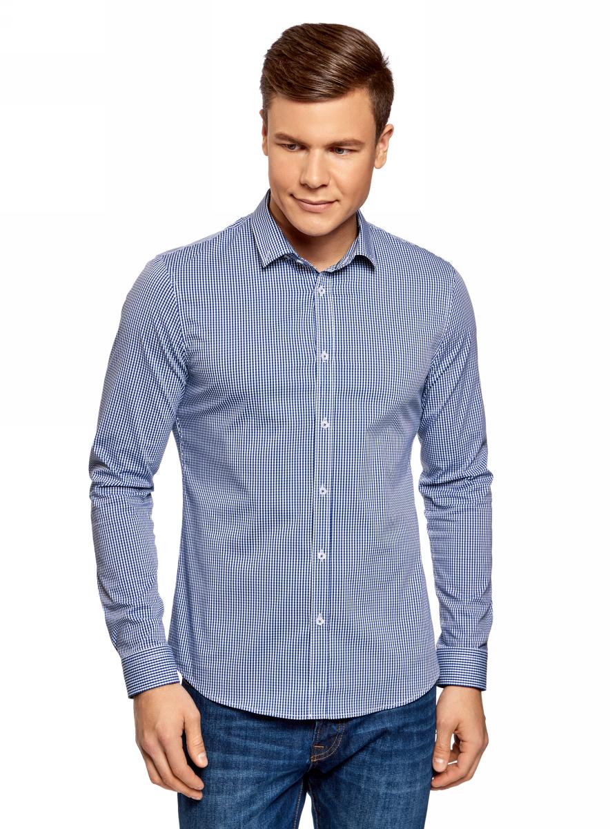 Купить Рубашка мужская oodji Basic, цвет: темно-синий, белый. 3B140003M/39767N/7910C. Размер 38-182 (44-182)