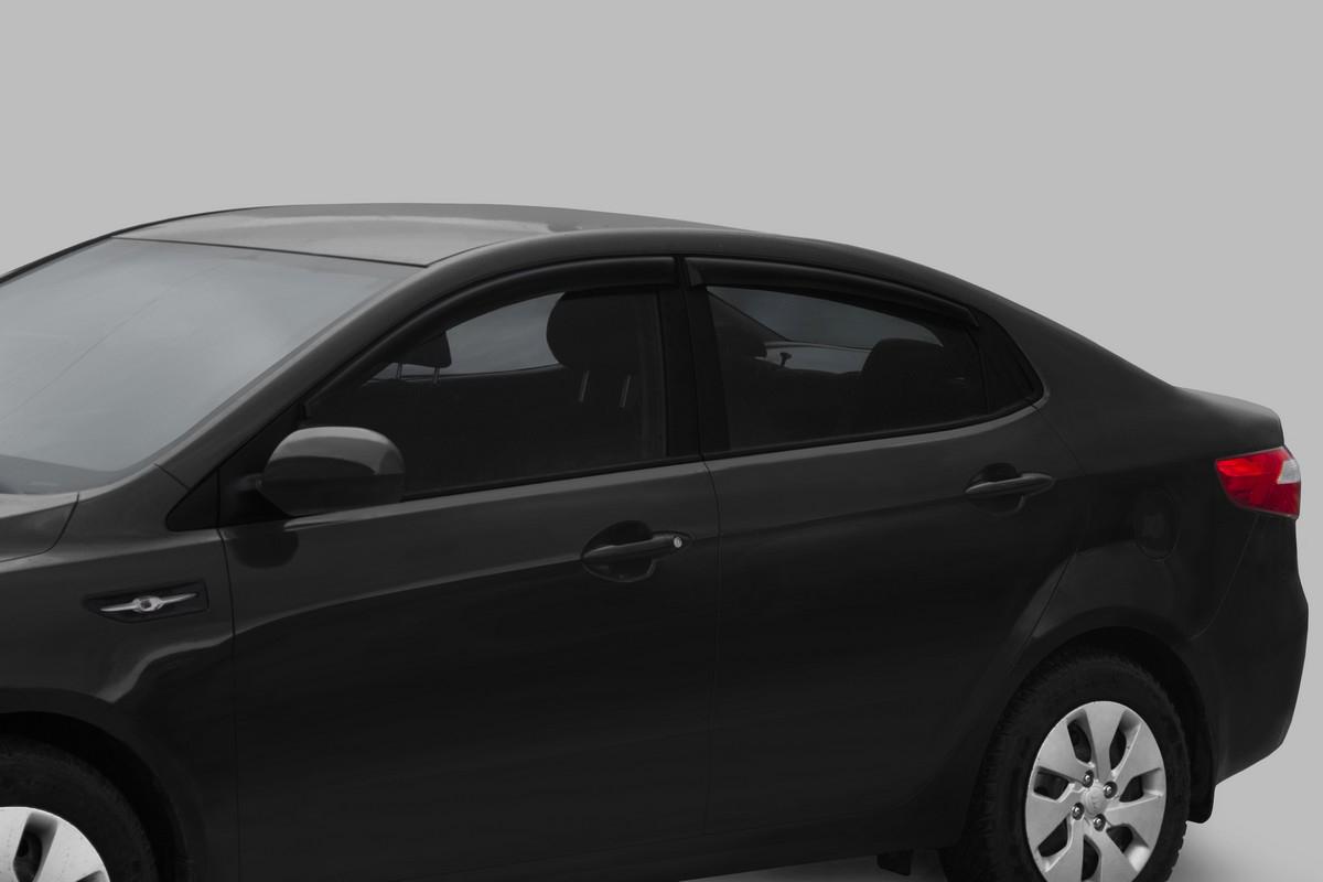 Купить Дефлекторы Rival для окон Kia Rio седан 2011-2017, акрил, 4 шт. 32803001