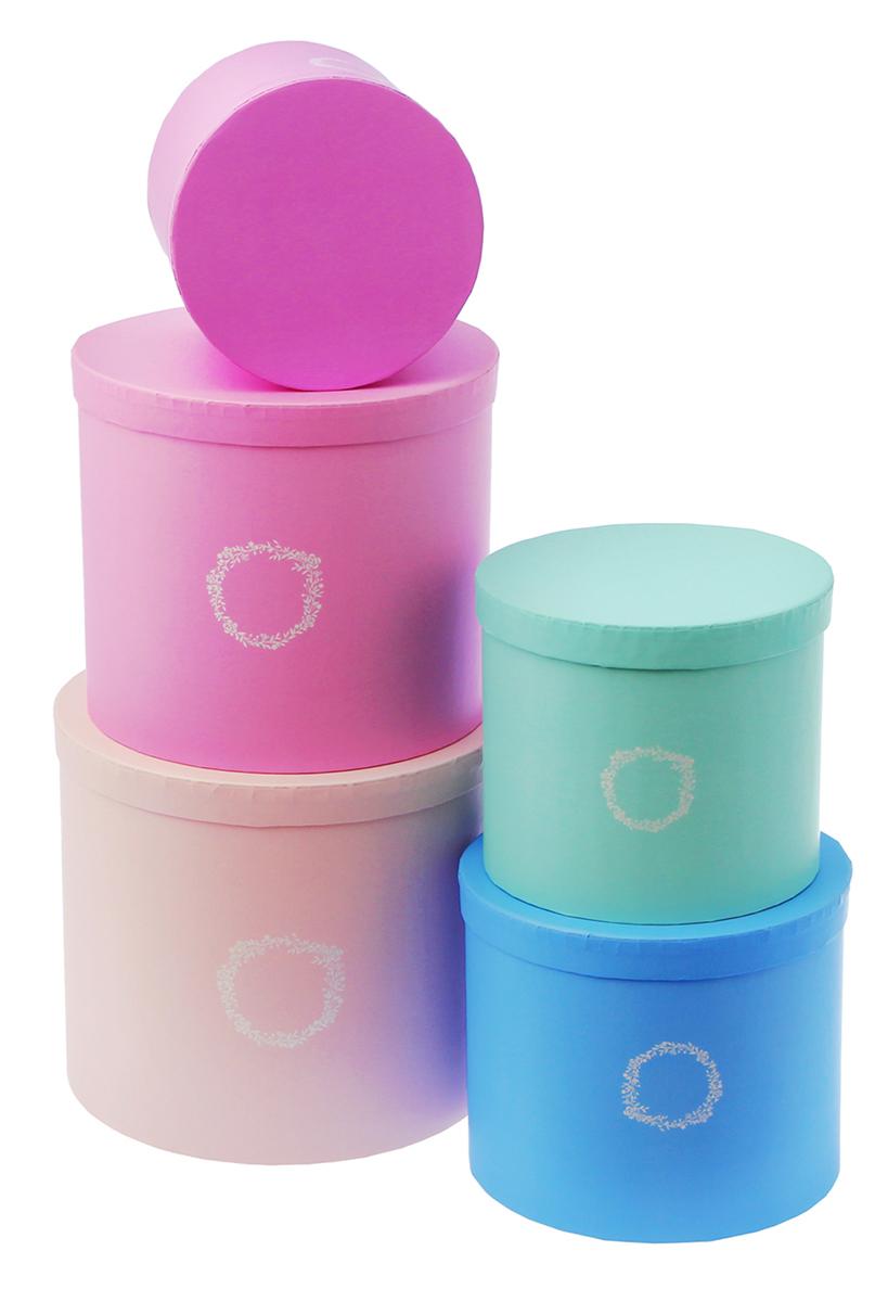 Набор коробок Дарите Счастье  5 в 1 Нежный , круг -  Подарочная упаковка