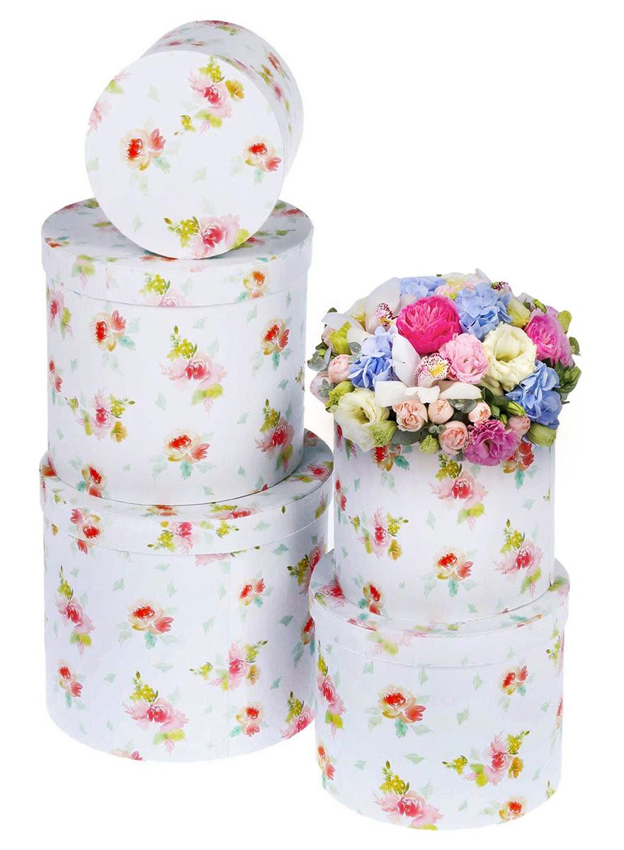 Набор коробок Дарите Счастье 5 в 1 Акварельные цветы, круг1433256Шляпные коробки — новое решение для оформления букетов. Такая композиция выглядит оригинально и стильно. Удобная упаковка защищает цветы во время переноски.При наличии флористической губки изделие можно использовать в качестве вазы. Кроме редкого полива и сбрызгивания растения не потребуют особенного ухода. Букет надолго сохранит свежесть и красоту.