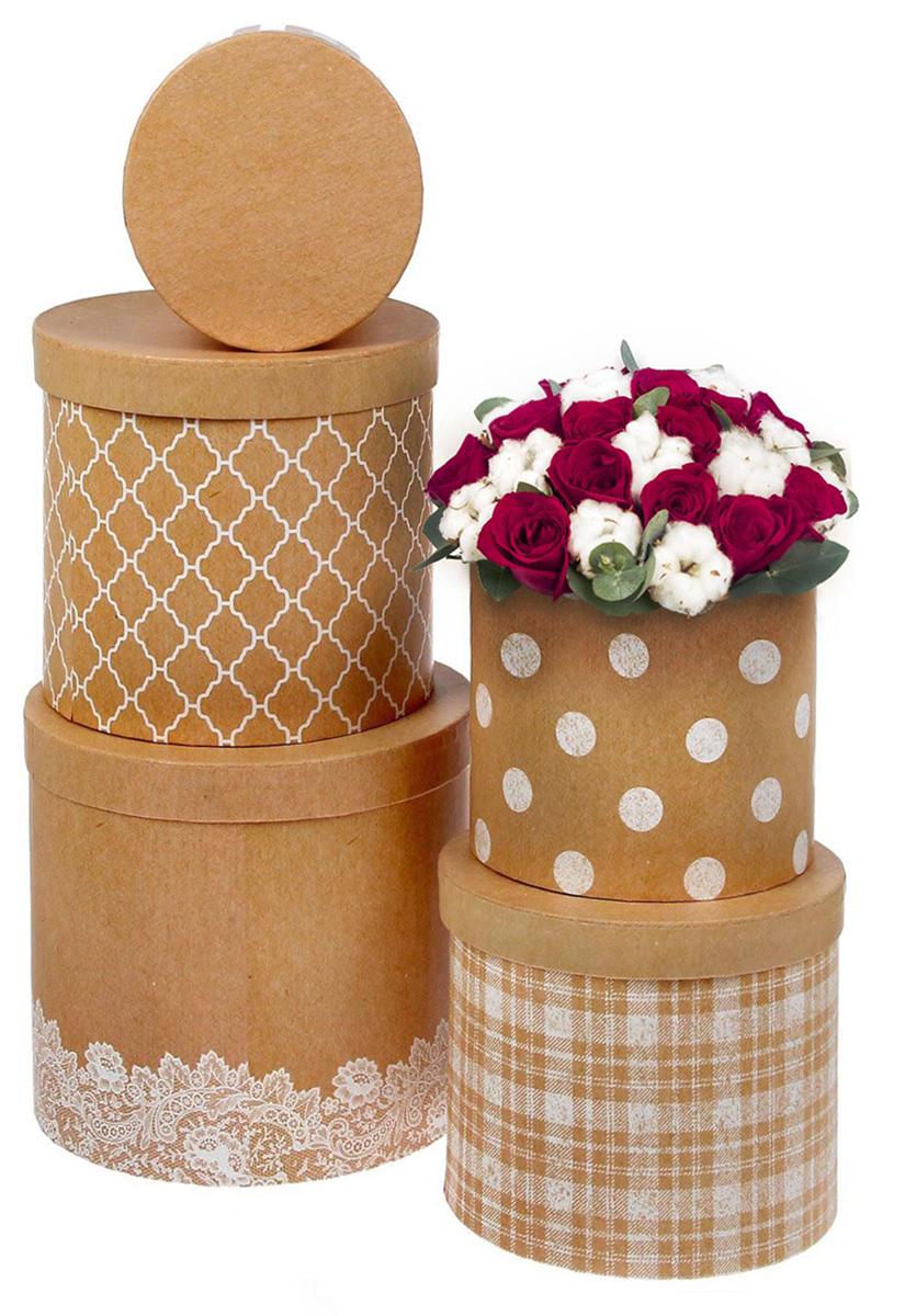 Набор коробок Дарите Счастье  5 в 1 Крафтовые фантазии , круг -  Подарочная упаковка