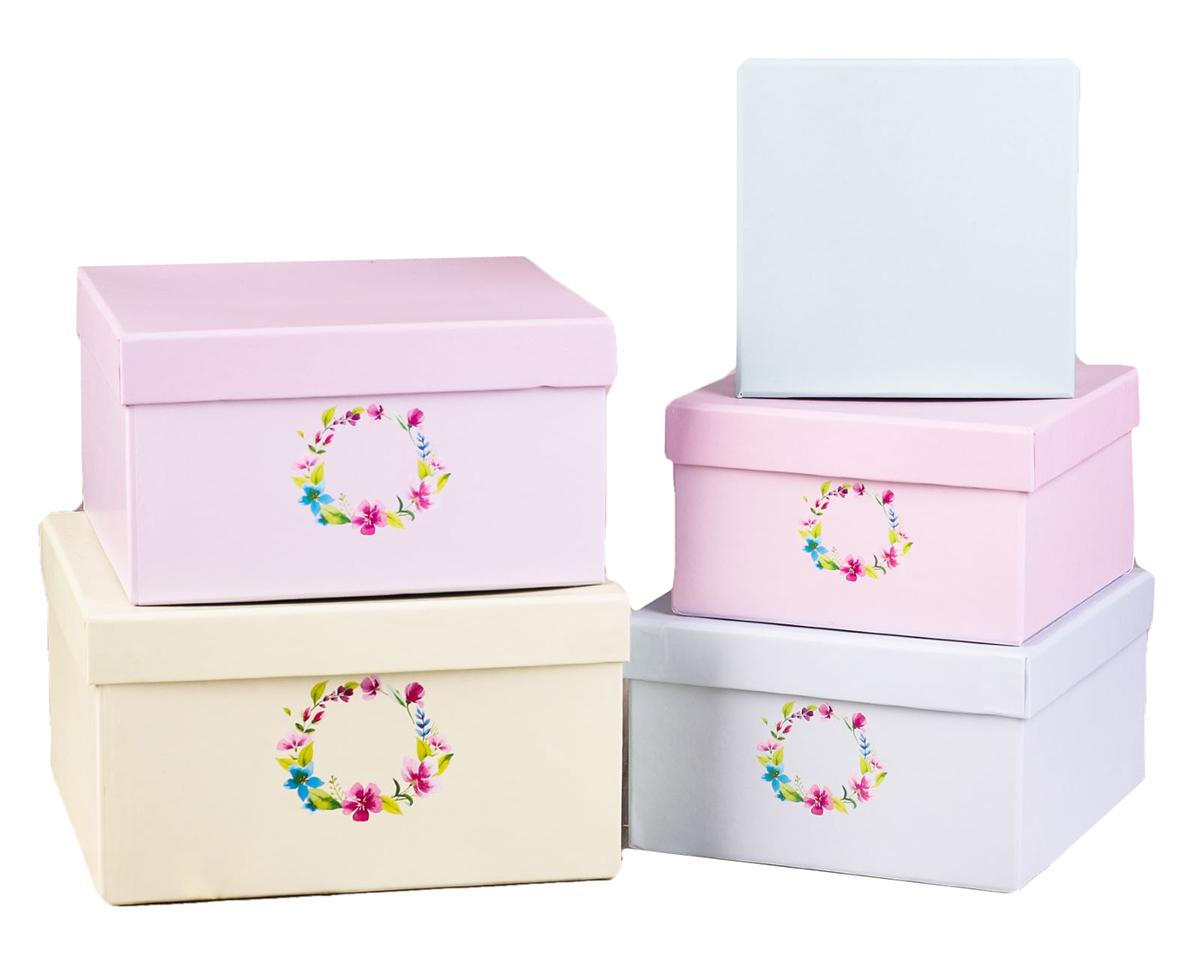 Набор коробок Дарите Счастье  5 в 1 Весенний венок , квадрат -  Подарочная упаковка