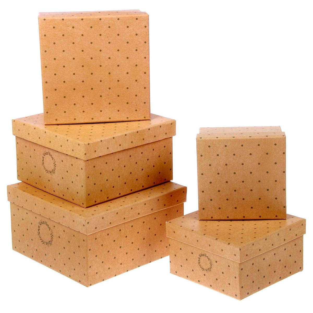 Набор коробок Дарите Счастье  5 в 1 Крафтовый , квадрат -  Подарочная упаковка