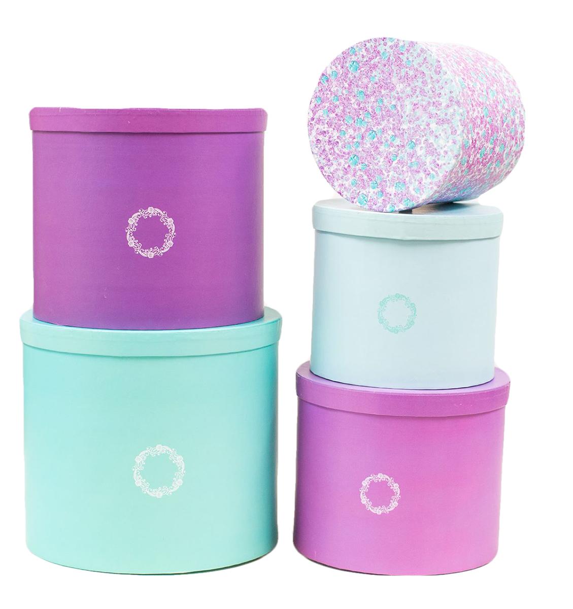 Набор коробок Дарите Счастье  5 в 1 Оттенки чуда , круг -  Подарочная упаковка