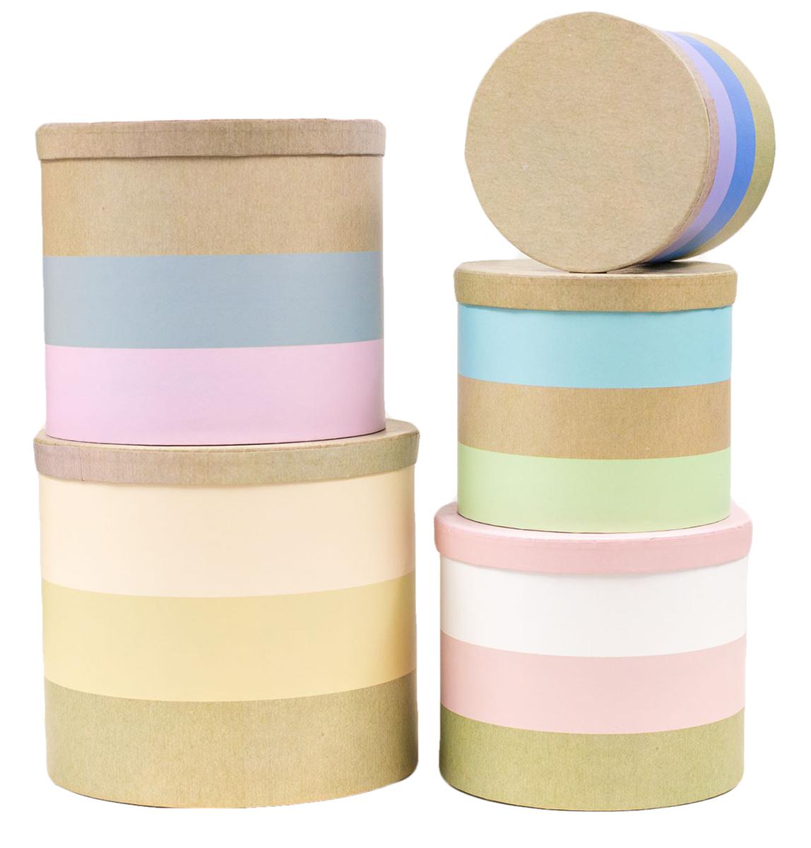 Набор коробок Дарите Счастье  5 в 1 Хорошего настроения , круг -  Подарочная упаковка