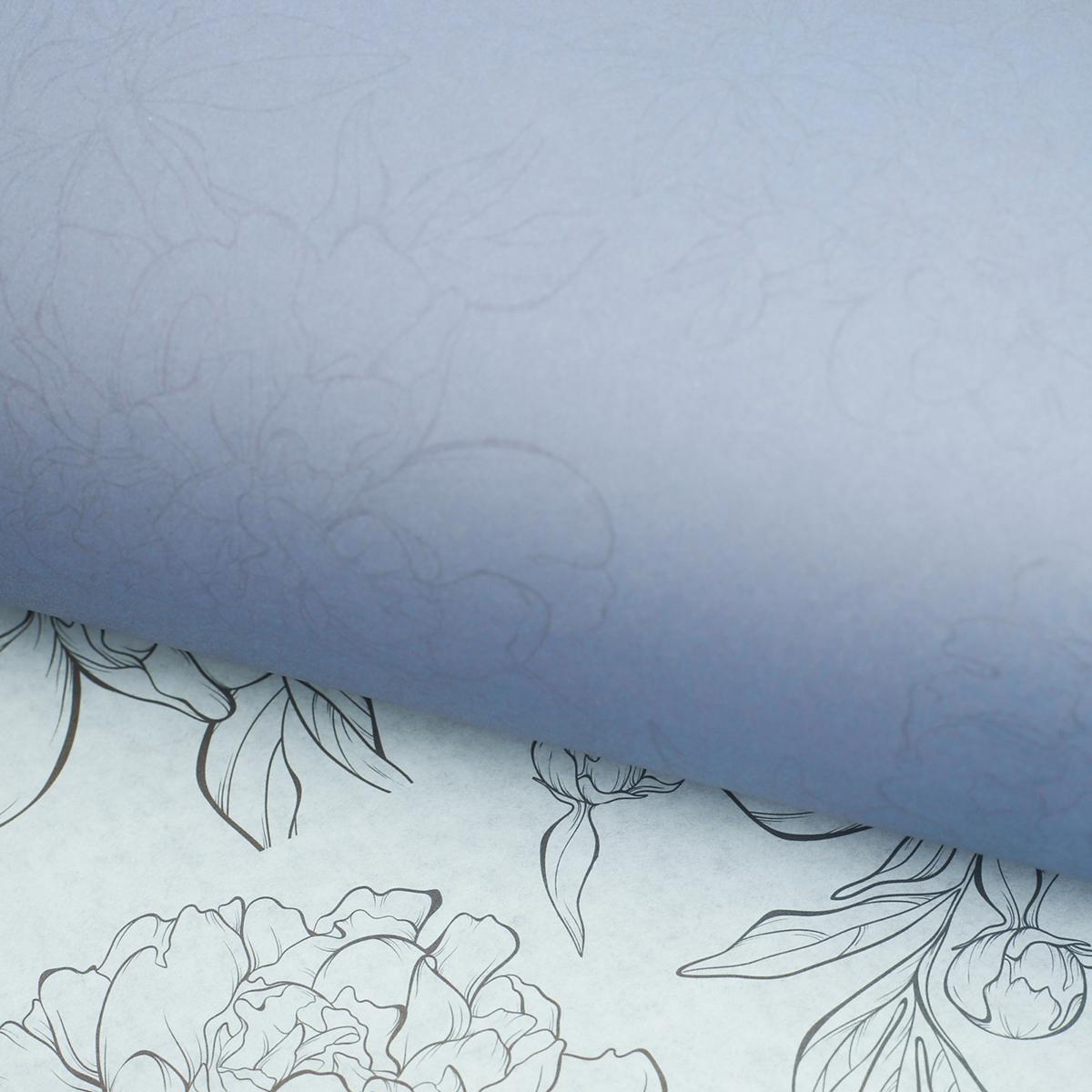 "Крафт бумага Дарите Счастье ""Лиловые цветы"", цветная, двусторонняя, 50 х 70 см"