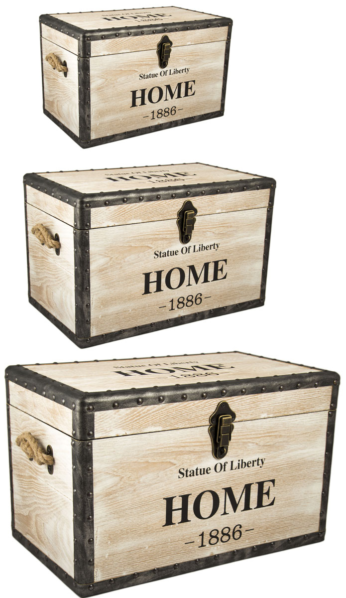 Набор сундуков, цвет: коричневый, 62 х 37 х 37 см, 3 шт234020Отлично подходят для хранения вещей и в качестве подарка.Материал: дерево, элементы металла и кожзаменитель, текстиль. Регулярно вытирать пыль сухой, мягкой тканью.